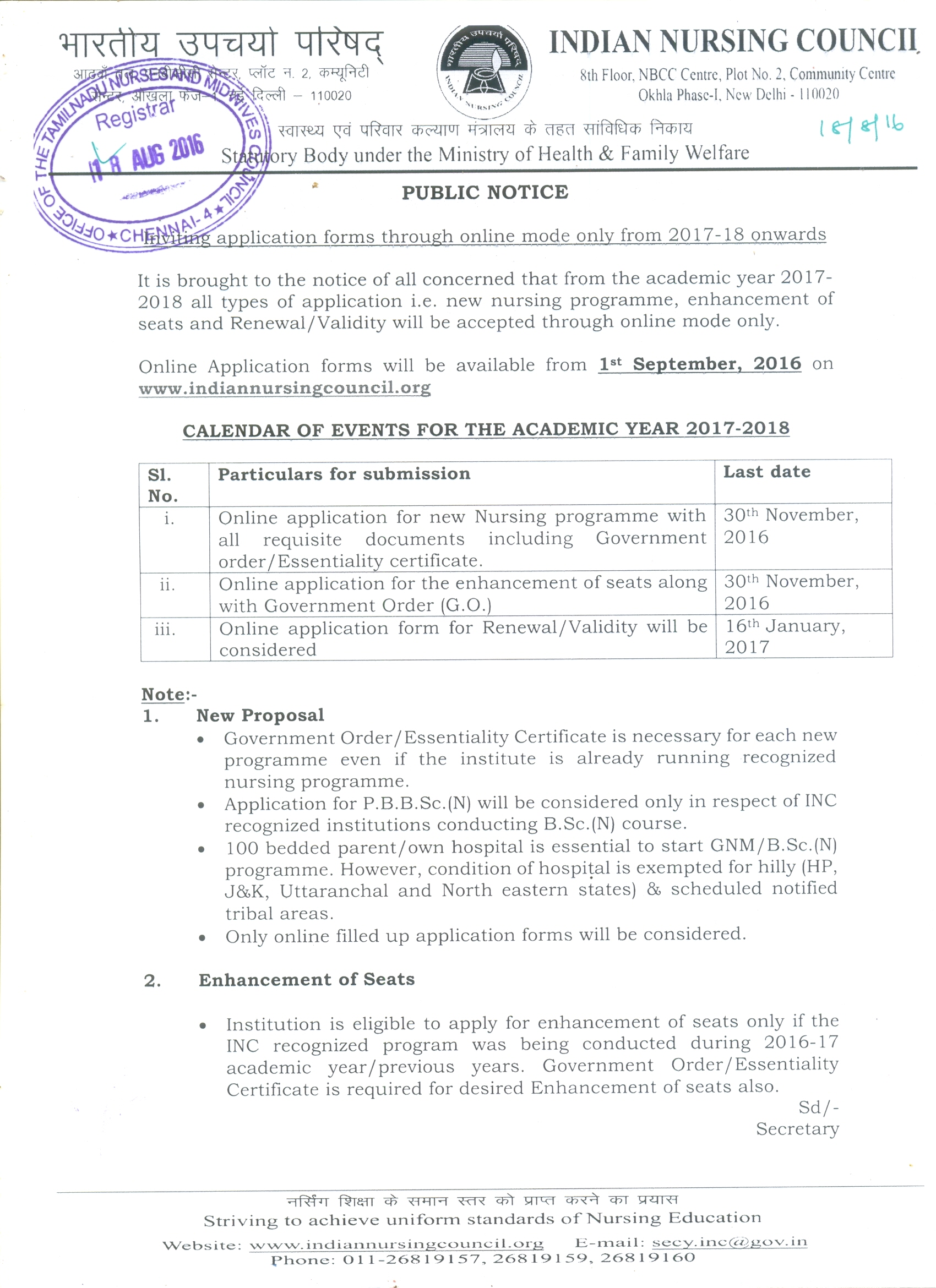 Tamil nadu nurses midwives council inc circular for commencement of academic session for all nursing programs renewal license xflitez Choice Image