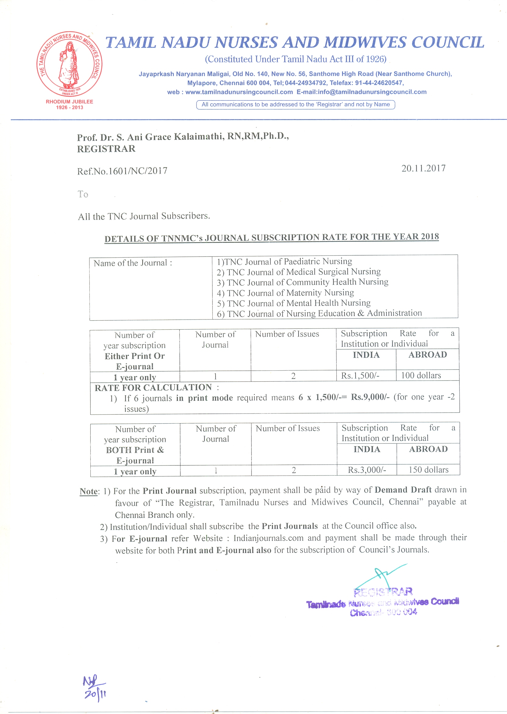 Tamil nadu nurses midwives council journal subscription rate for the year 2018 aiddatafo Gallery